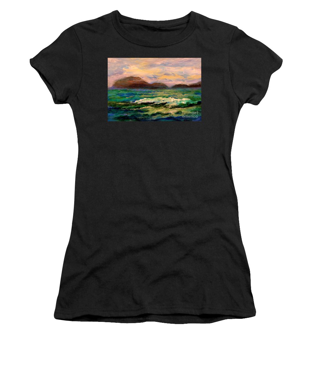 Fine Art Women's T-Shirt featuring the painting Islands And Wave by Julianne Felton