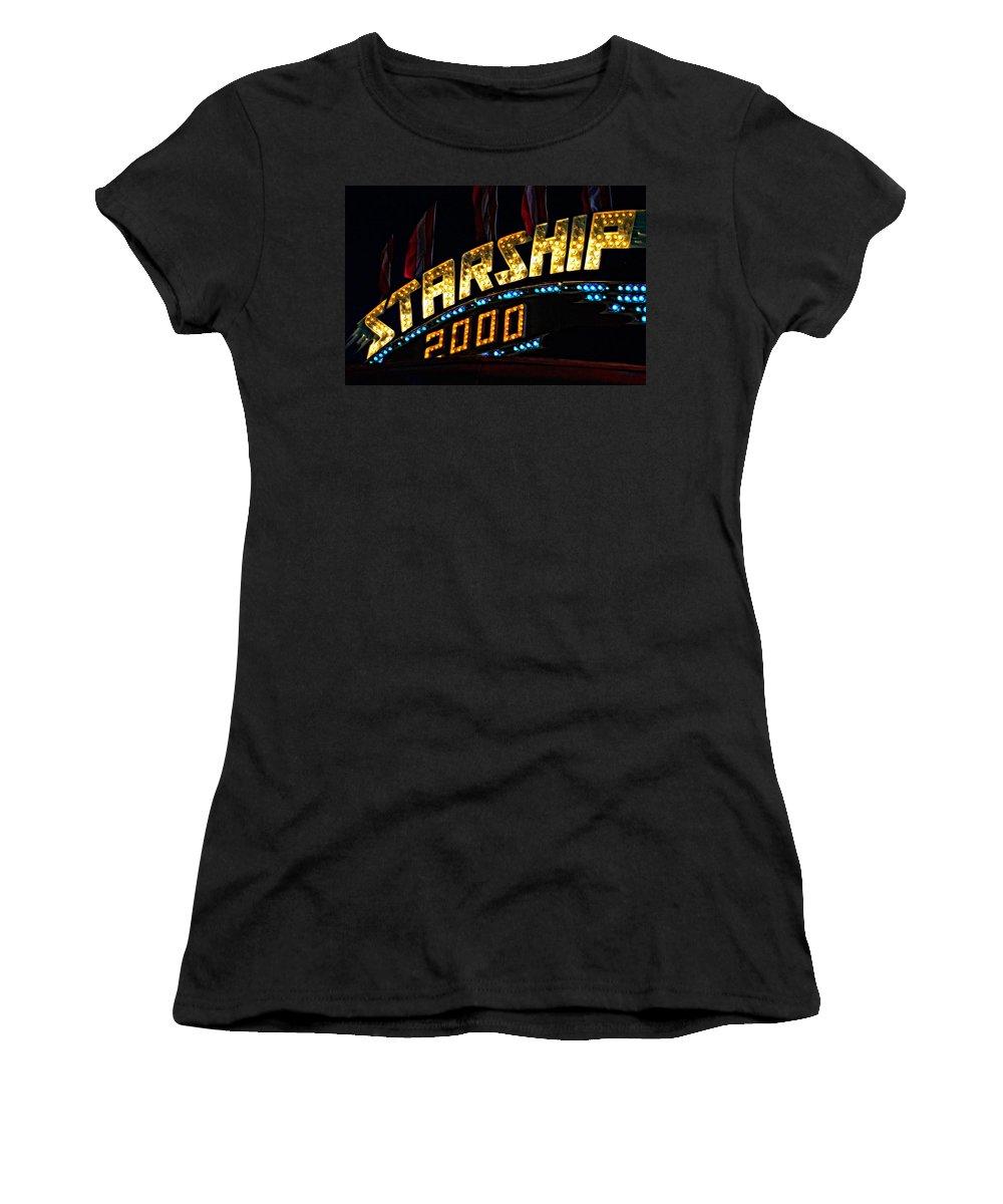 Bolton Fall Fair Women's T-Shirt (Athletic Fit) featuring the photograph Carny Night 4 by Steve Harrington
