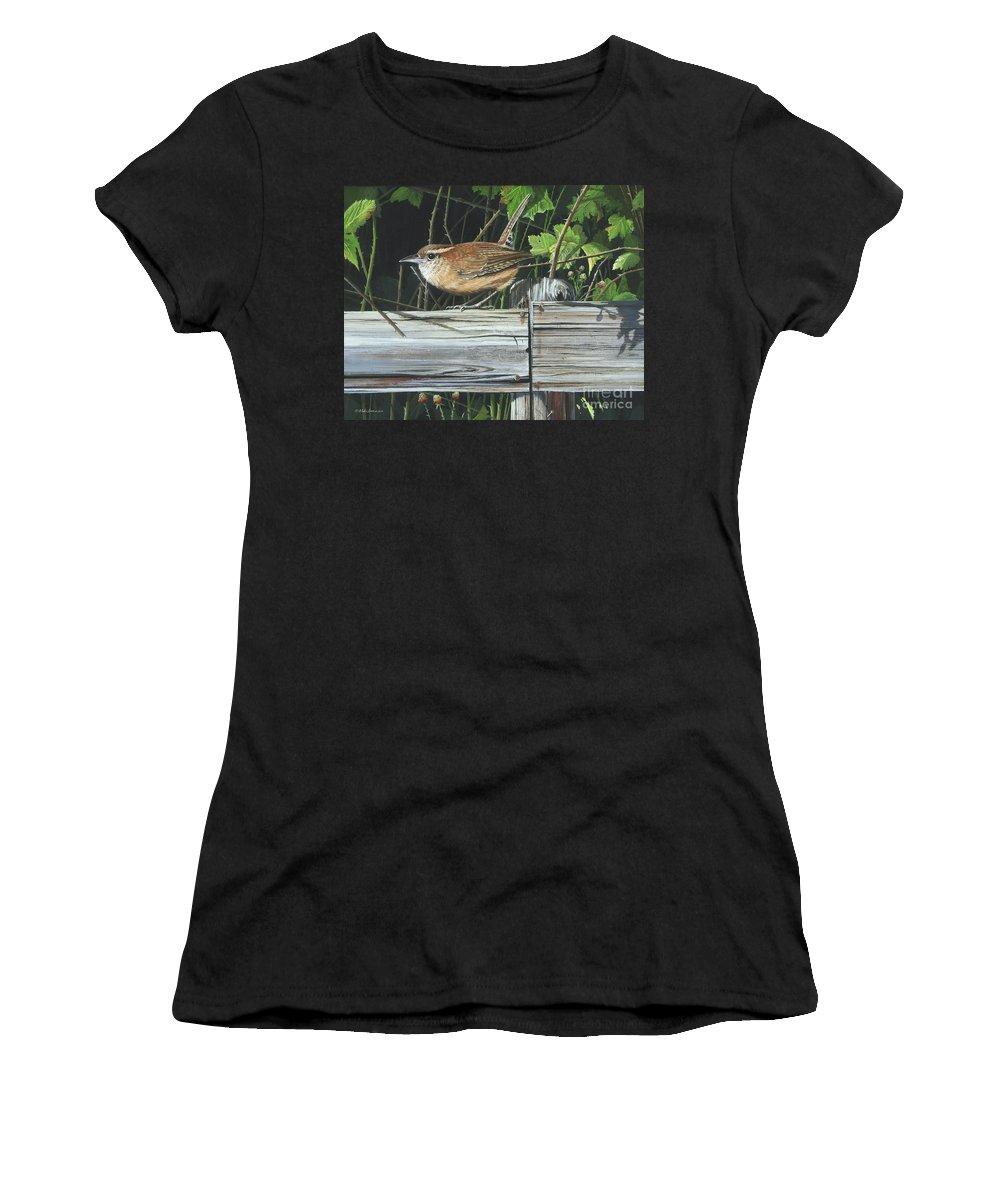 Carolina Wren Women's T-Shirt featuring the painting Carolina Wren by Mike Brown