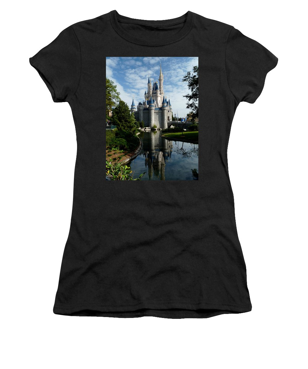 Cinderella Women's T-Shirt (Athletic Fit) featuring the photograph Castle Reflections by Nora Martinez