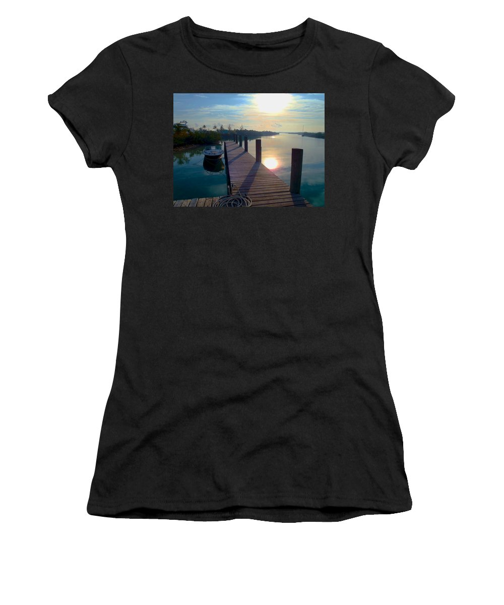 Cat Island Women's T-Shirt (Athletic Fit) featuring the photograph Cat Island Dock by Carey Chen