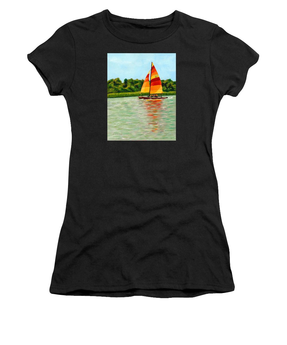 Seascape Women's T-Shirt featuring the painting Catamaran by Jill Ciccone Pike