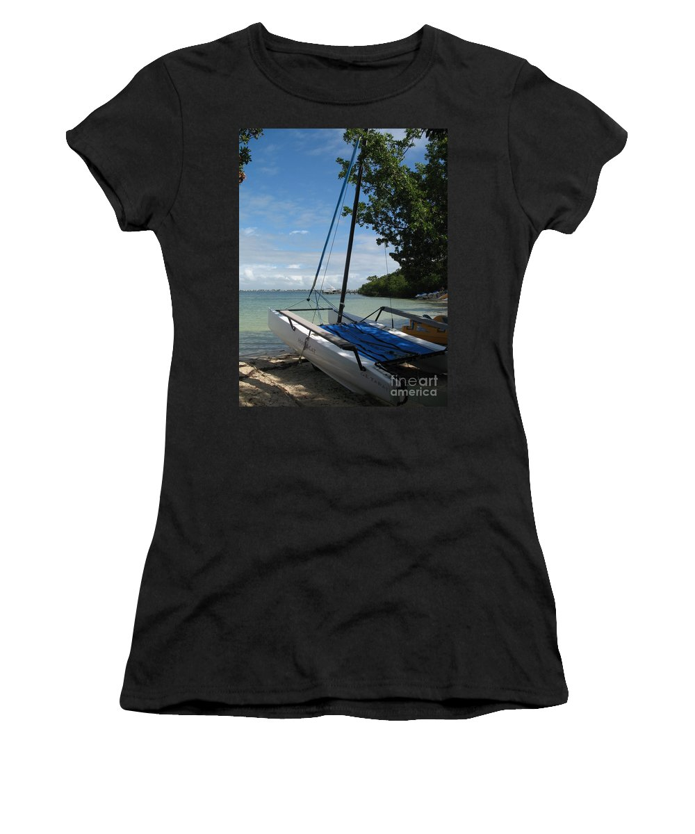 Beach Women's T-Shirt (Athletic Fit) featuring the photograph Catamaran On The Beach by Christiane Schulze Art And Photography