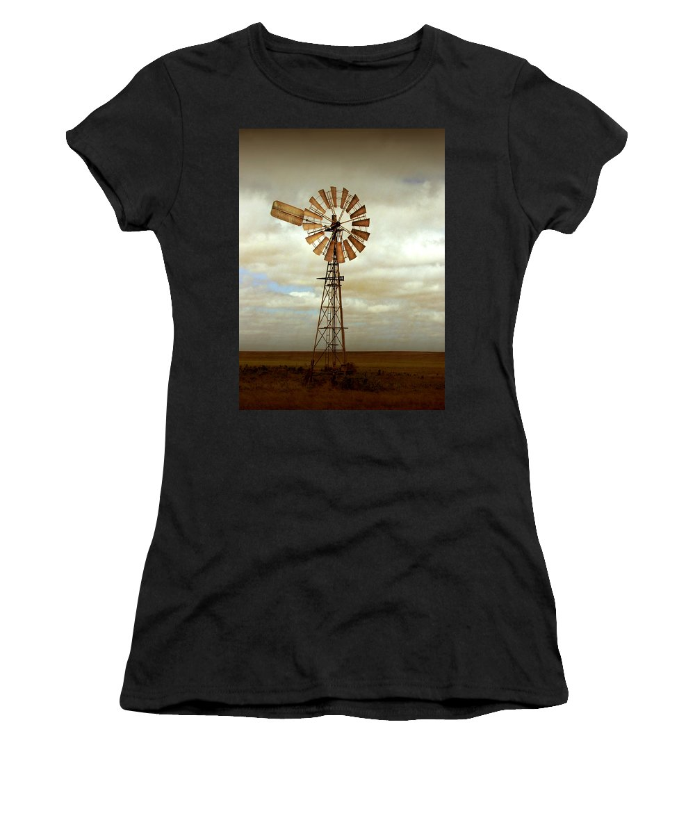 Windmill Women's T-Shirt (Athletic Fit) featuring the photograph Catch The Wind by Holly Kempe