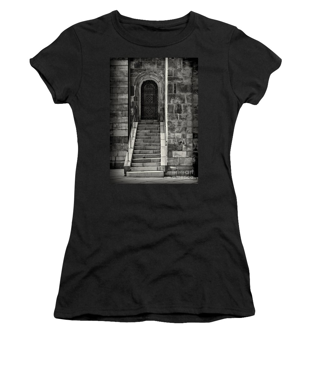 Black And White Women's T-Shirt (Athletic Fit) featuring the photograph Cathedral Door And Steps by Sophie McAulay