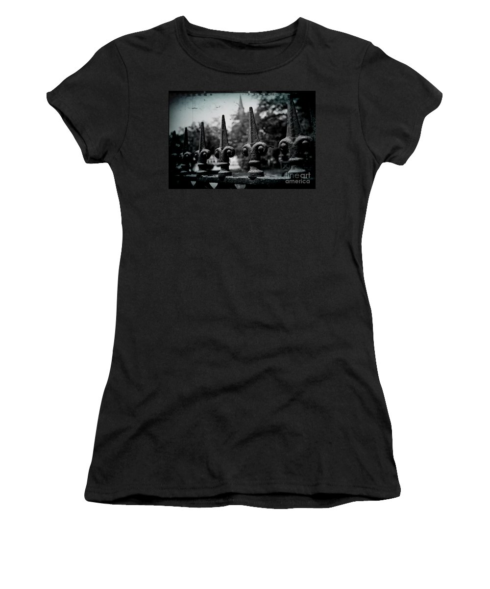 Wrought Iron Women's T-Shirt (Athletic Fit) featuring the photograph Cathedral Fence by Scott Pellegrin