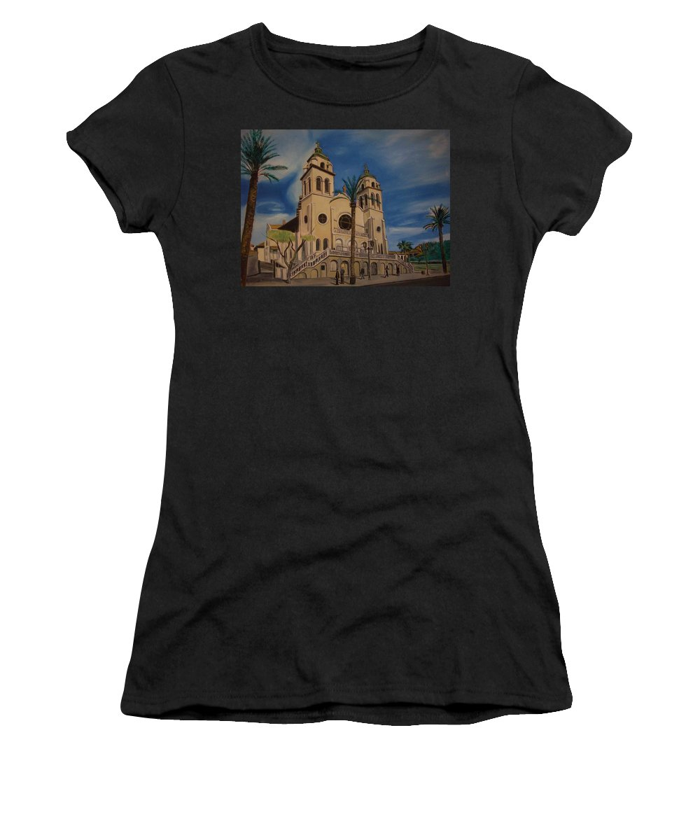 Women's T-Shirt (Athletic Fit) featuring the painting Cathedral by Jude Darrien