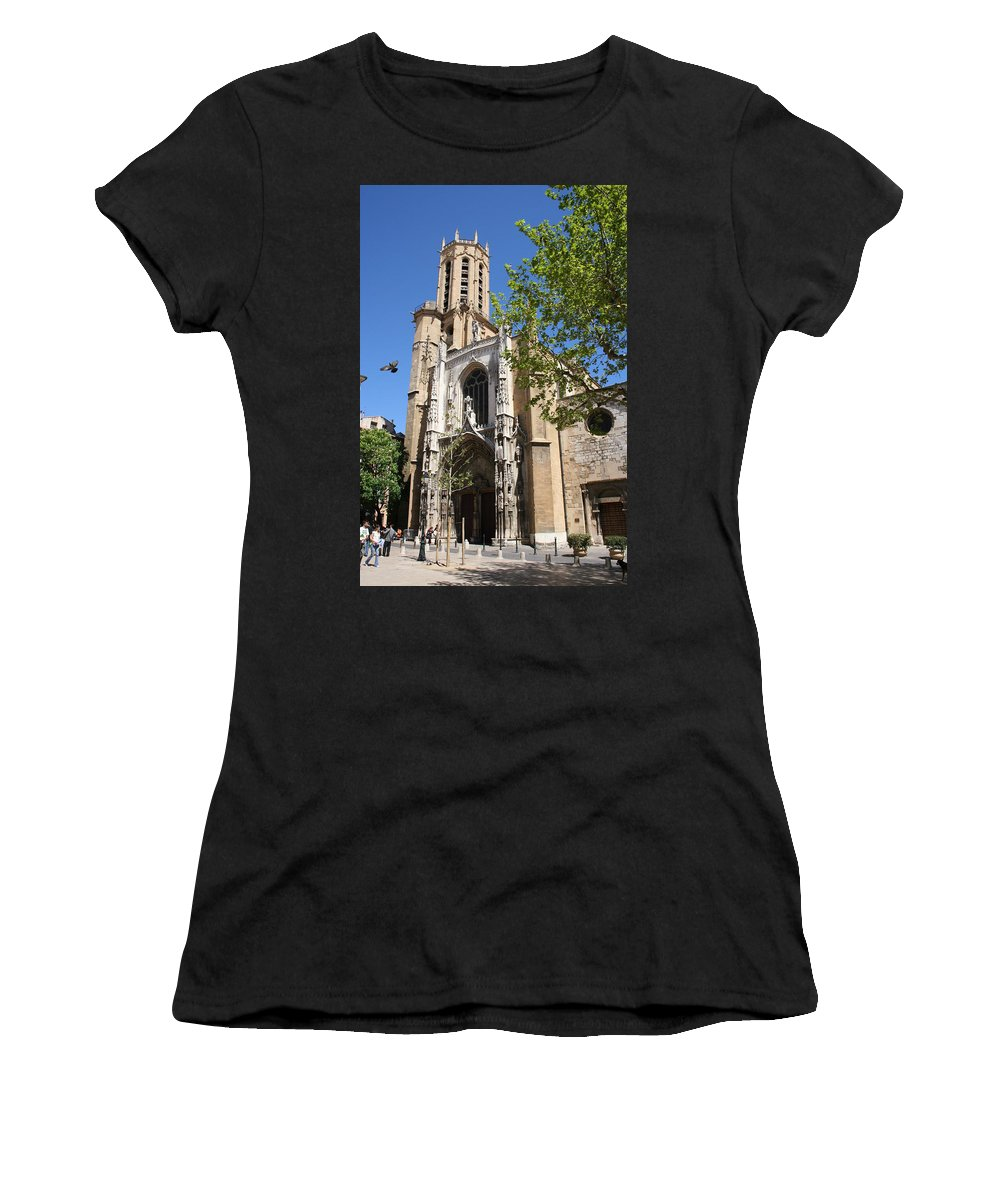 Cathedral Women's T-Shirt (Athletic Fit) featuring the photograph Cathedral St Sauveur - Aix En Provence by Christiane Schulze Art And Photography