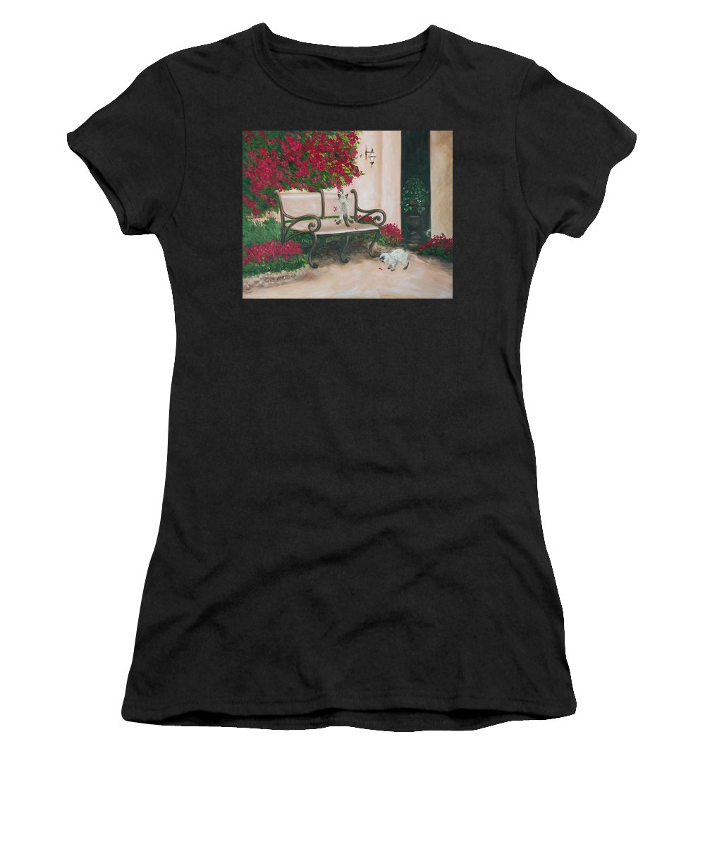 Cat Fine Art Women's T-Shirt (Athletic Fit) featuring the painting Cat Art Print On Canvas Oil Painting Hire Commission Pet Portrait Artist by Diane Jorstad