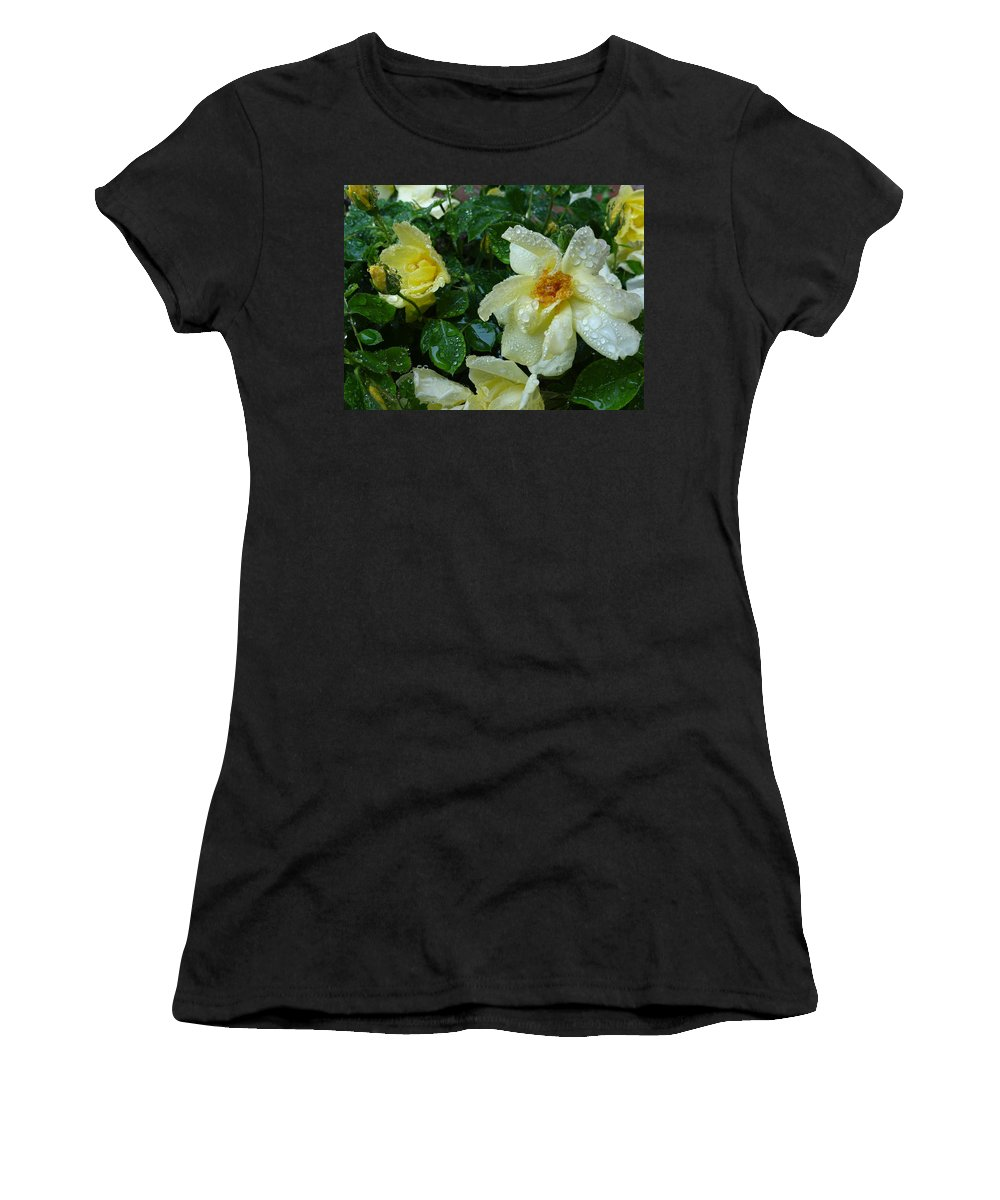 Roses Women's T-Shirt (Athletic Fit) featuring the photograph Caught In The Rain by Ira Shander