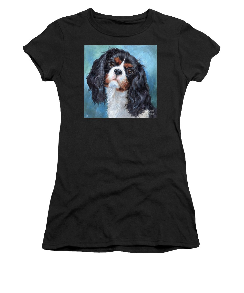 Cavalier King Charles Spaniel Women's T-Shirt featuring the painting Cavalier King Charles Spaniel by Hope Lane