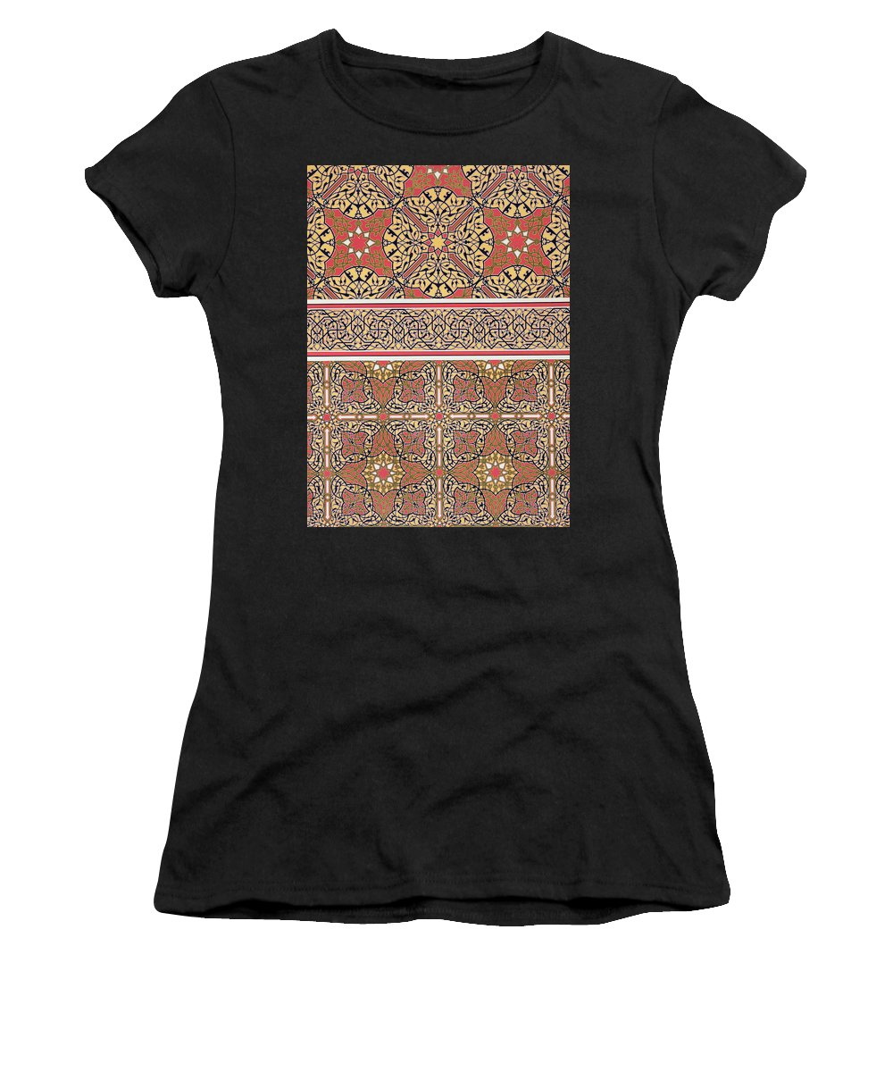Design; Pattern; Entwined; Border; Egyptian; Islamic; Arabic; Moslem; Muslim; Arabesque; North African Women's T-Shirt (Athletic Fit) featuring the drawing Ceiling Arabesques From The Mosque Of El-bordeyny by Emile Prisse d Avennes