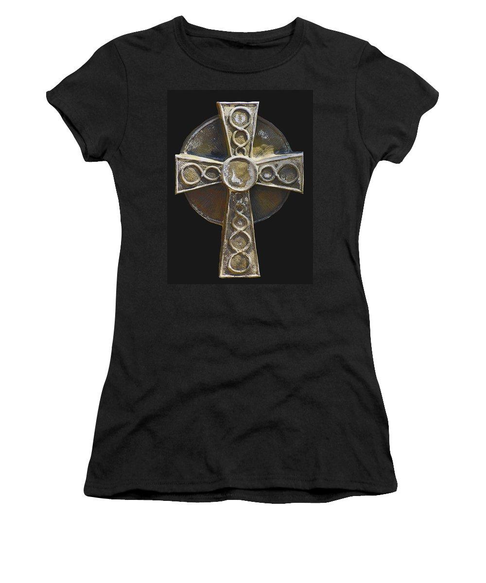 Saint Patrick Women's T-Shirt (Athletic Fit) featuring the photograph Celtic Cross Sepia by LeeAnn McLaneGoetz McLaneGoetzStudioLLCcom