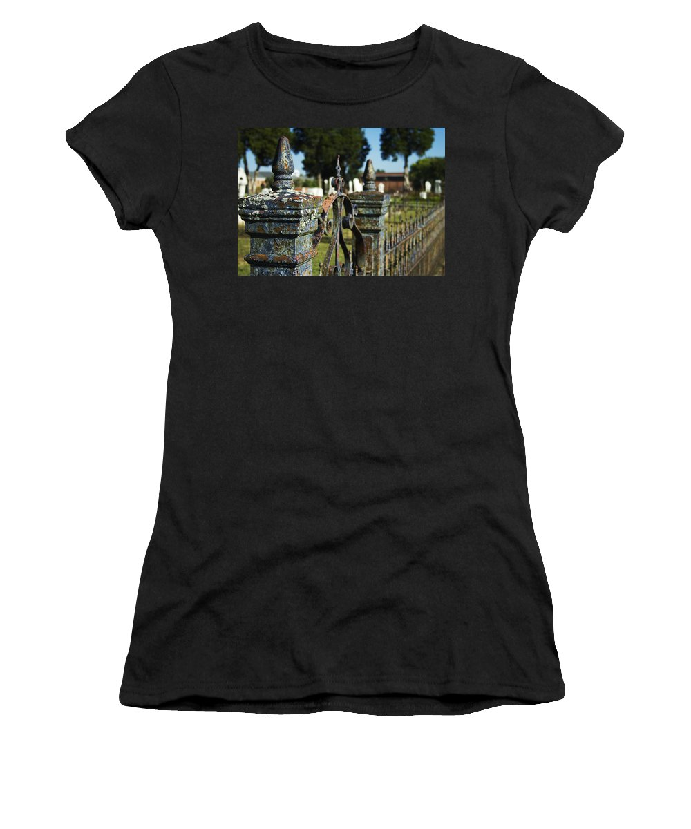 Graveyard Women's T-Shirt featuring the photograph Cemetery Gate With Peeling Paint by Kathy Clark