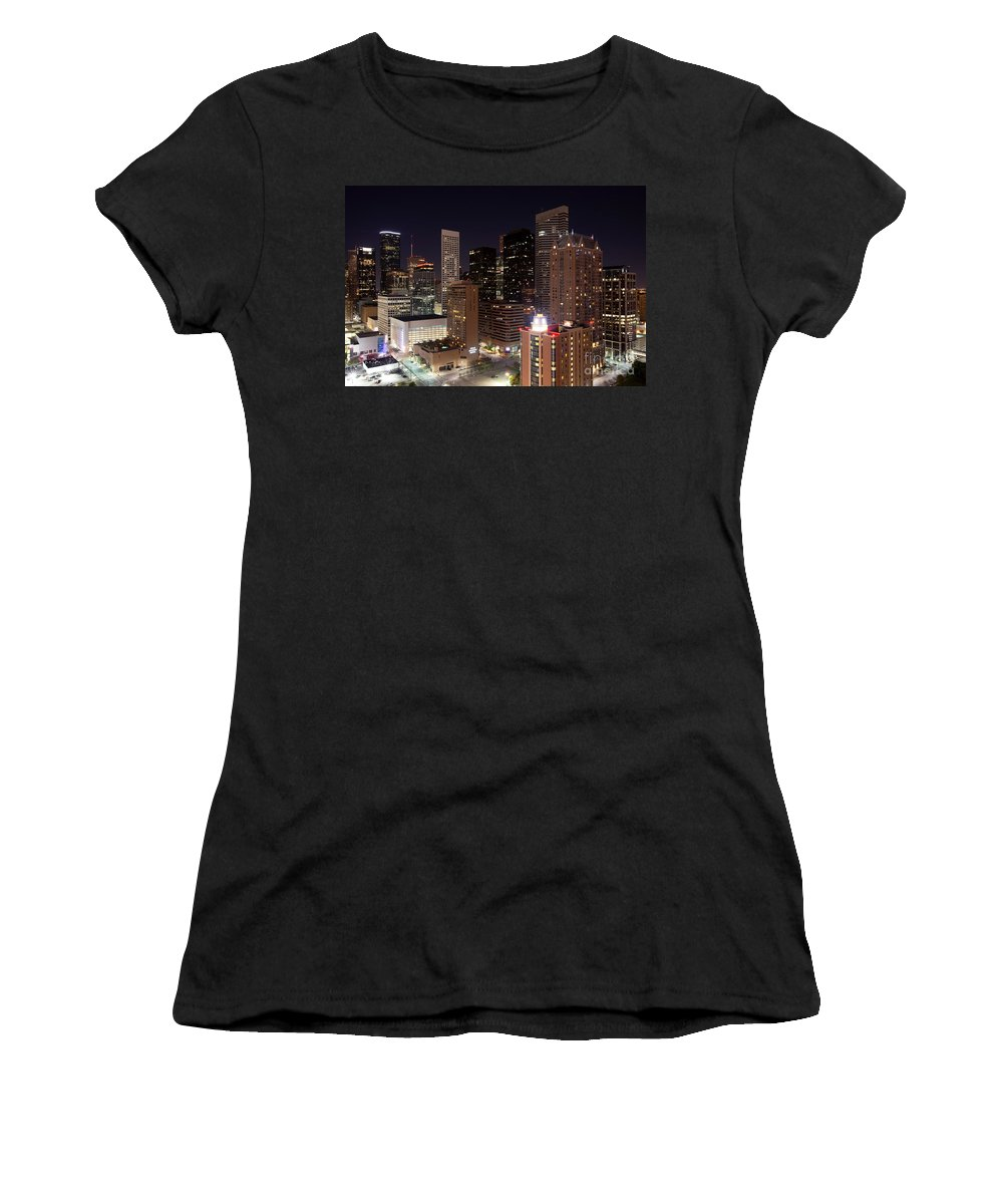 Houston Women's T-Shirt (Athletic Fit) featuring the photograph Central Houston At Night by Bill Cobb