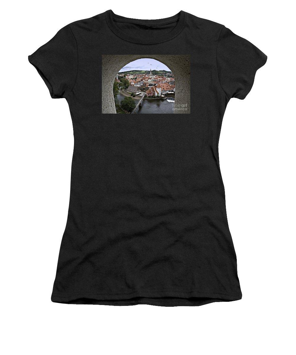 Cesky Krumlov Women's T-Shirt (Athletic Fit) featuring the photograph Cesky Krumlov by Madeline Ellis
