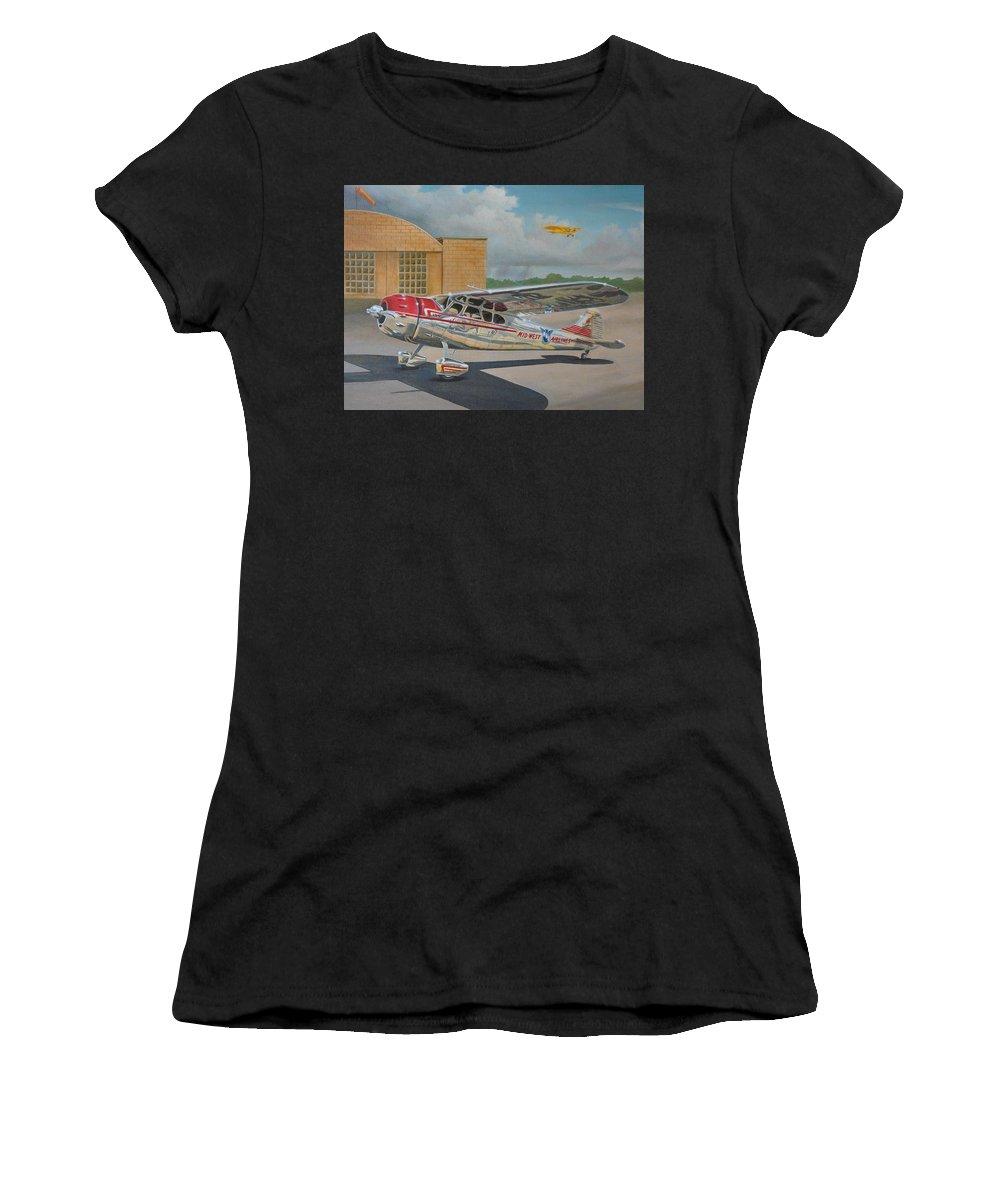 Aviation Women's T-Shirt featuring the painting Cessna 195 by Stuart Swartz