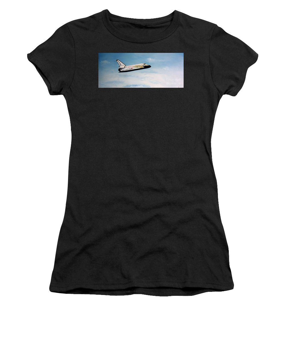 Shuttle Women's T-Shirt (Athletic Fit) featuring the painting Challenger by Murphy Elliott
