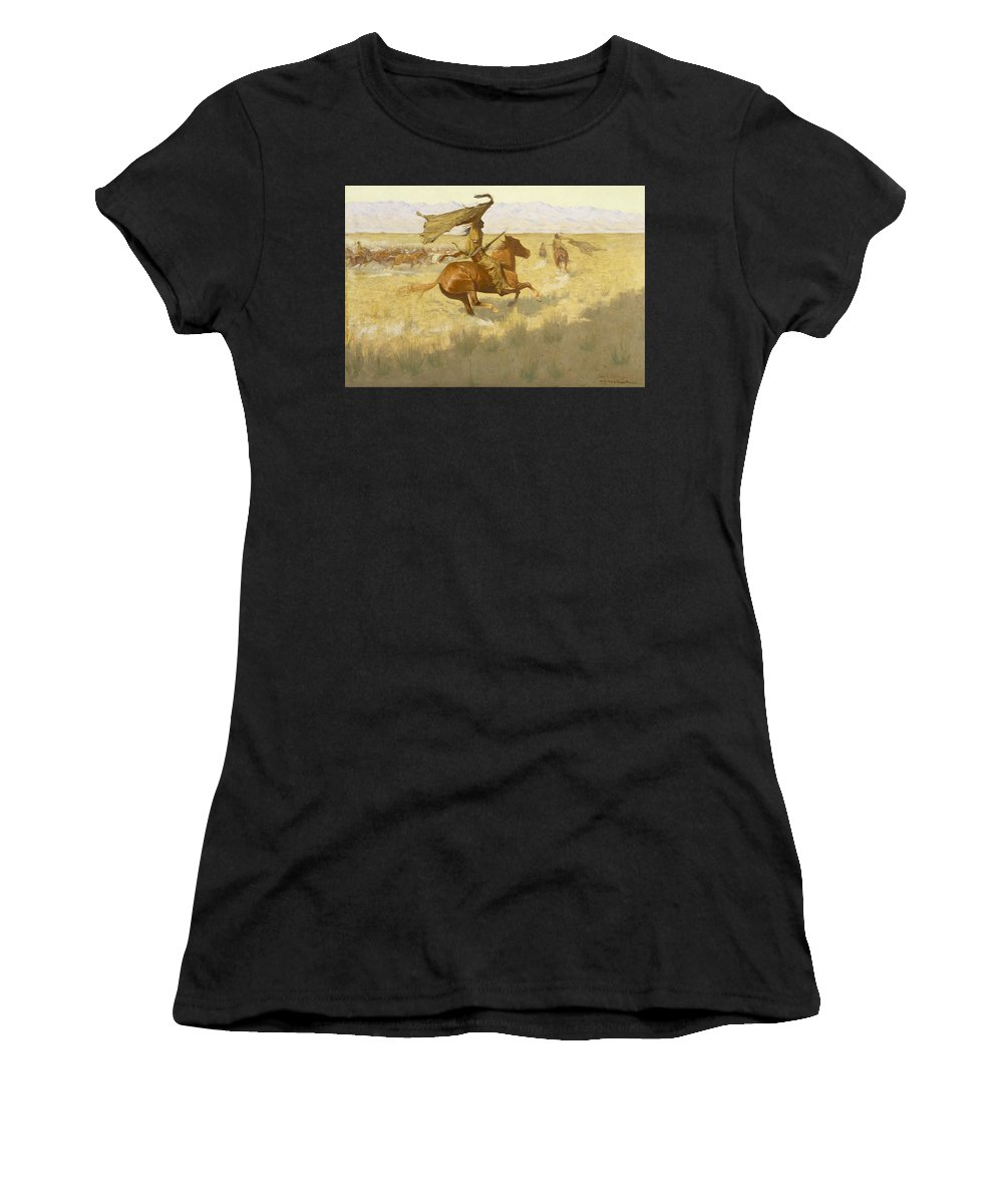 Frederic Remington Women's T-Shirt (Athletic Fit) featuring the painting Change Of Ownership by Frederic Remington