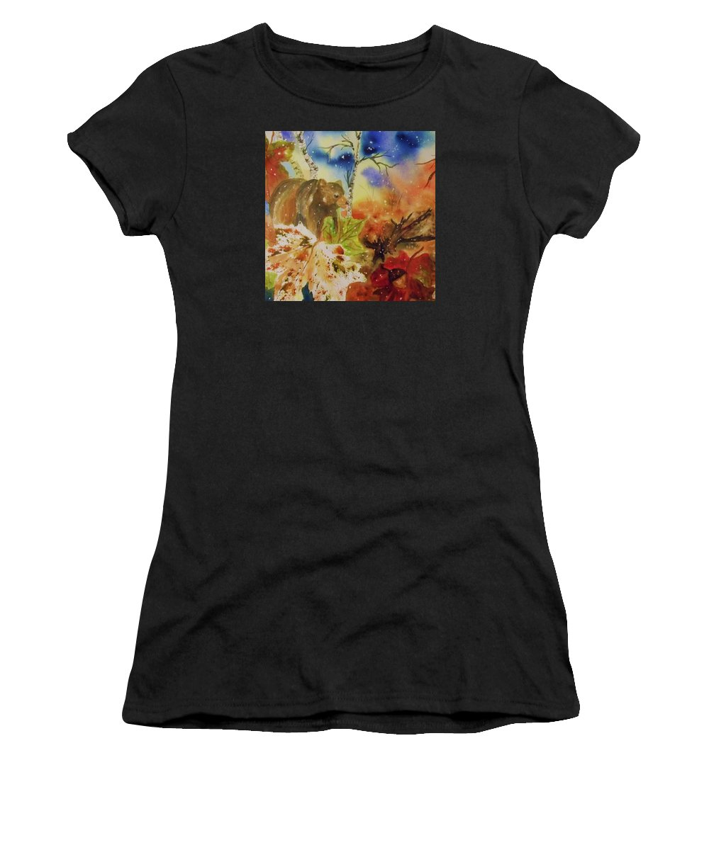 Bear Women's T-Shirt featuring the painting Changing Of The Seasons - Square Format by Ellen Levinson