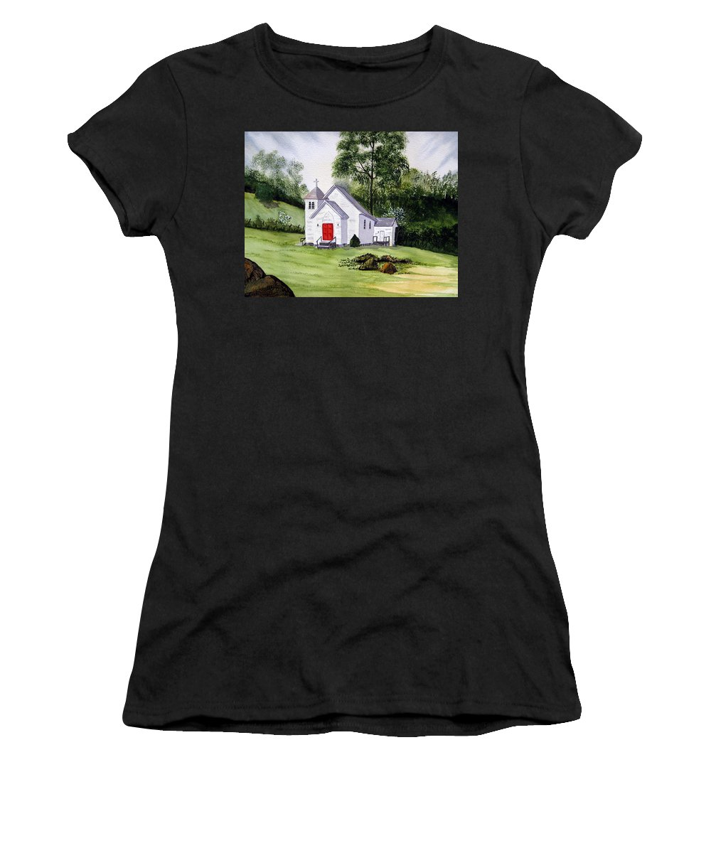 Church Women's T-Shirt featuring the painting Chapel In The Mounts by Julia RIETZ
