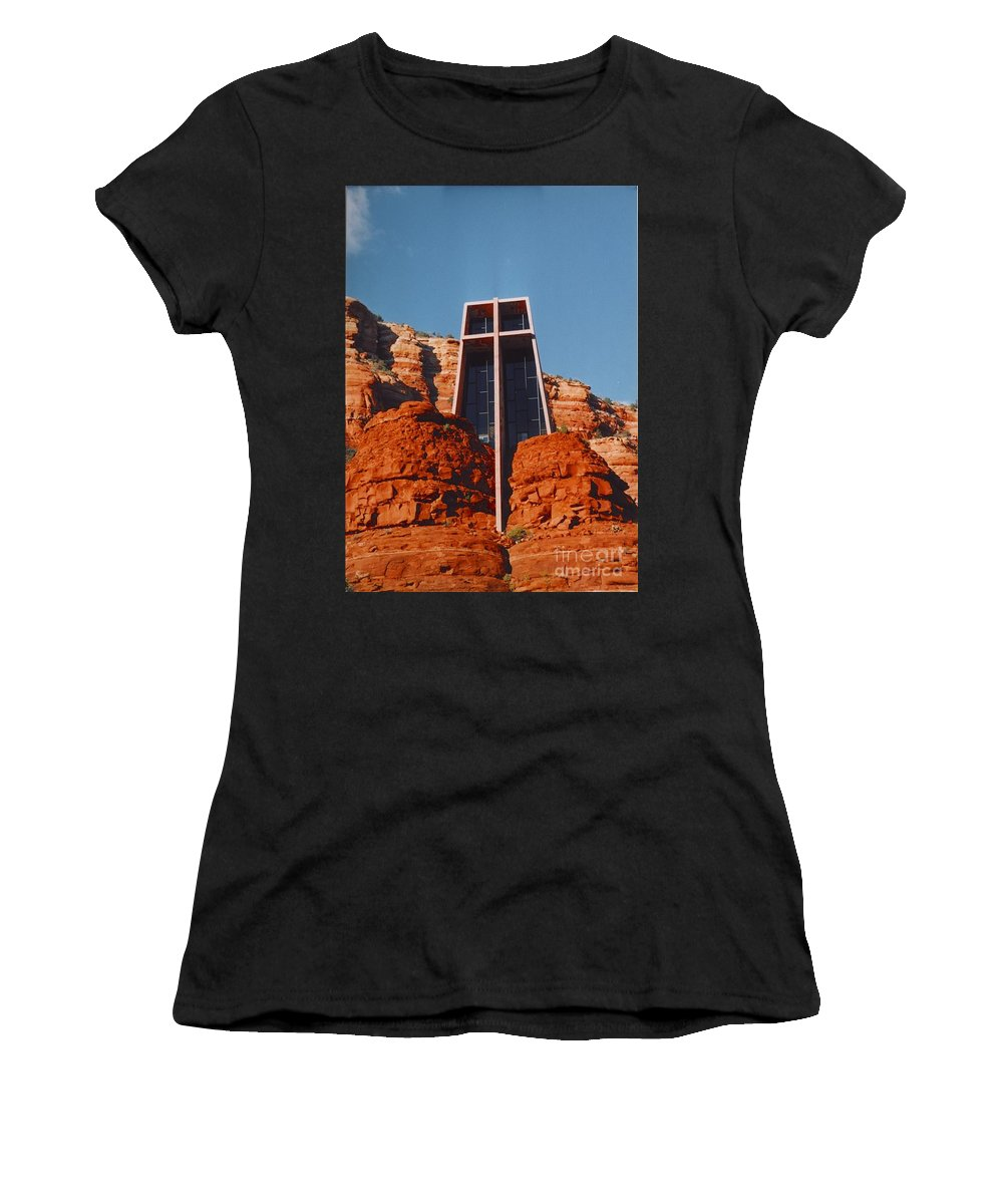 Church Women's T-Shirt (Athletic Fit) featuring the photograph Chapel Of The Holy Cross by Kathleen Struckle