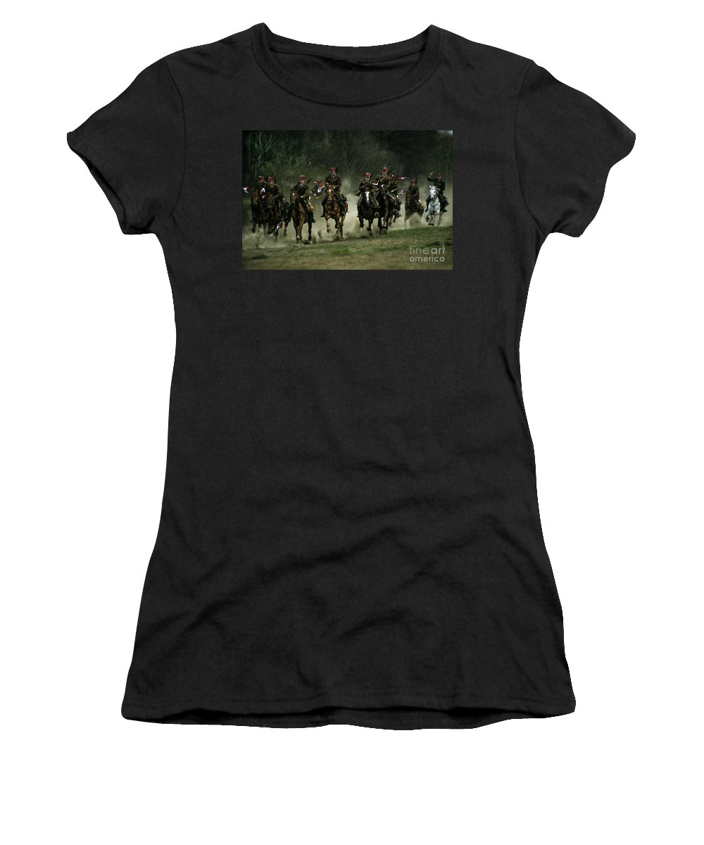 Cavalery Women's T-Shirt (Athletic Fit) featuring the photograph Charge by Angel Ciesniarska