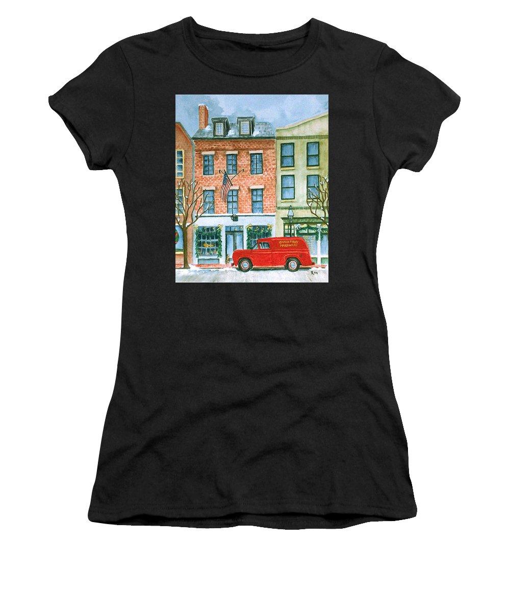 Charles Street Hardware Women's T-Shirt featuring the painting Charles Street Hardware by Rhonda Leonard