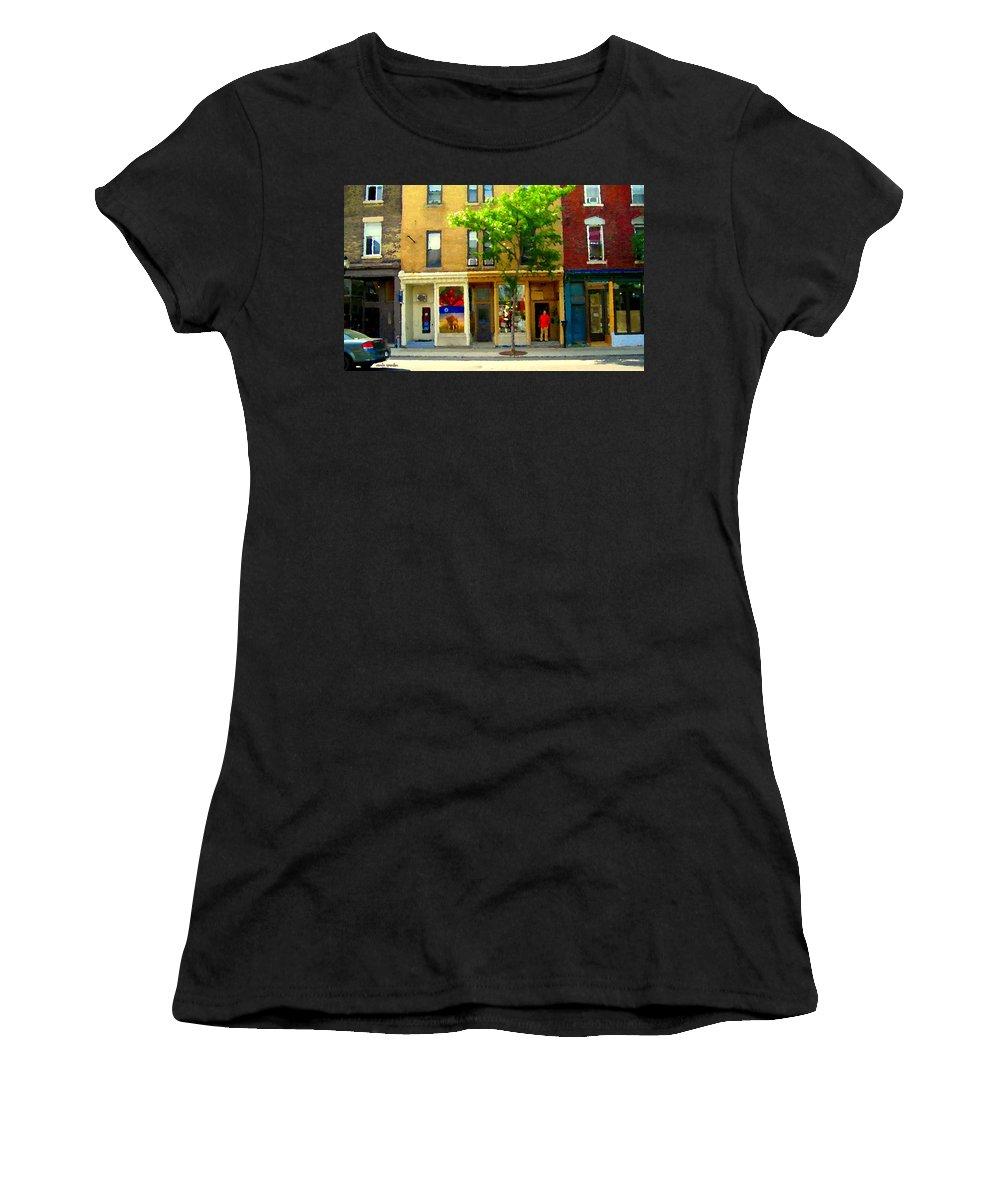 St.henri Women's T-Shirt (Athletic Fit) featuring the painting Charlevoix And Notre Dame Little Antique Shops St Henri Art Montreal Street Scene Carole Spandau by Carole Spandau