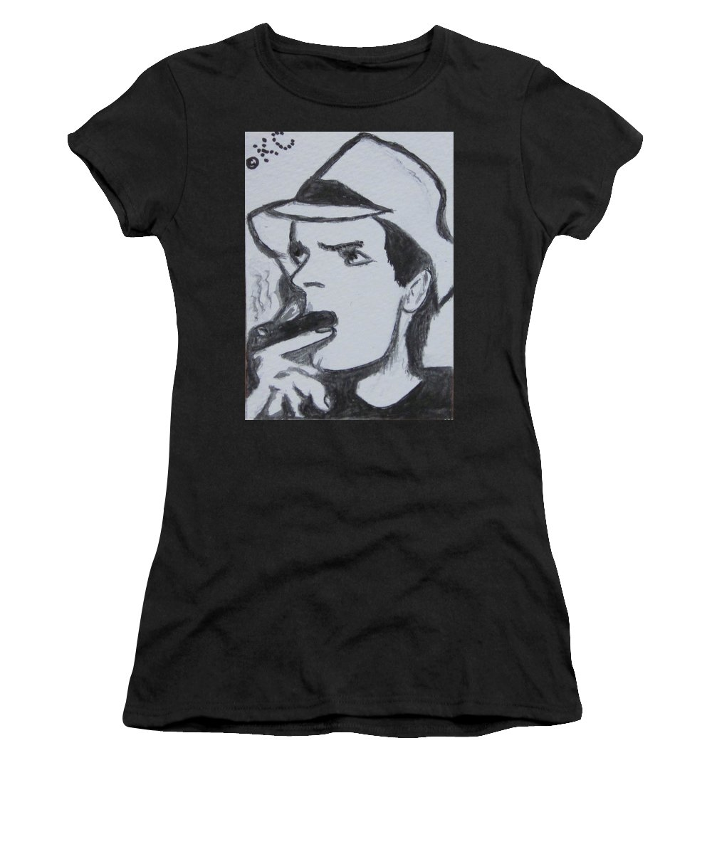 Two And A Half Men Women's T-Shirt (Athletic Fit) featuring the painting Charlie Sheen by Kathy Marrs Chandler