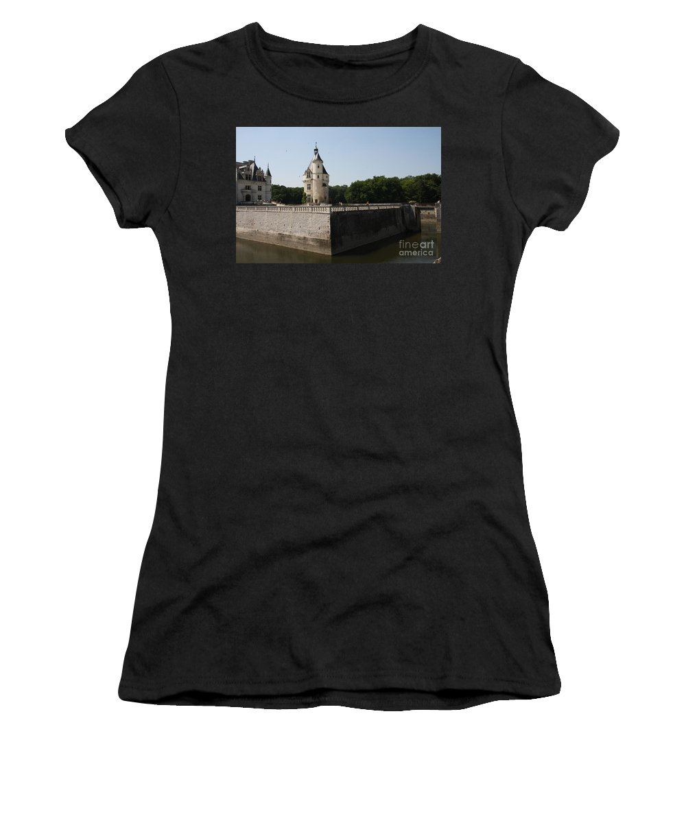 Castle Women's T-Shirt featuring the photograph Chateau And Moat Chenonceau by Christiane Schulze Art And Photography