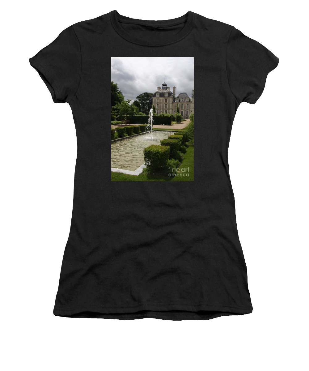 Palace Women's T-Shirt featuring the photograph Chateau De Cheverny With Garden Fountain by Christiane Schulze Art And Photography