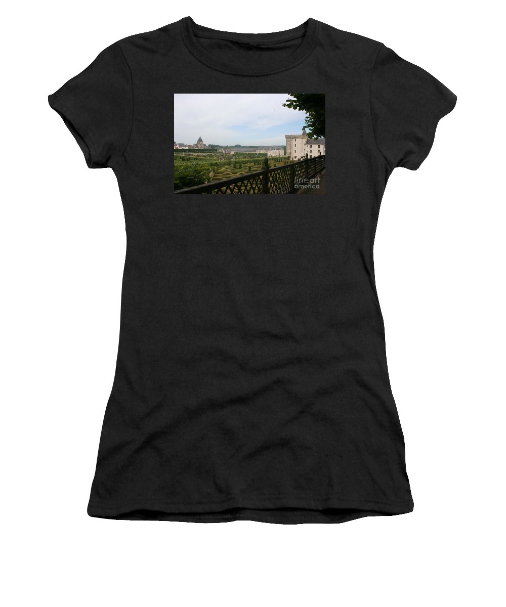 Garden Women's T-Shirt (Athletic Fit) featuring the photograph Chateau Vilandry And Garden View by Christiane Schulze Art And Photography