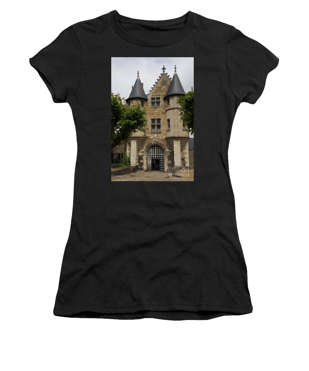 Castle Women's T-Shirt (Athletic Fit) featuring the photograph Chatelet - Chateau D'angers by Christiane Schulze Art And Photography