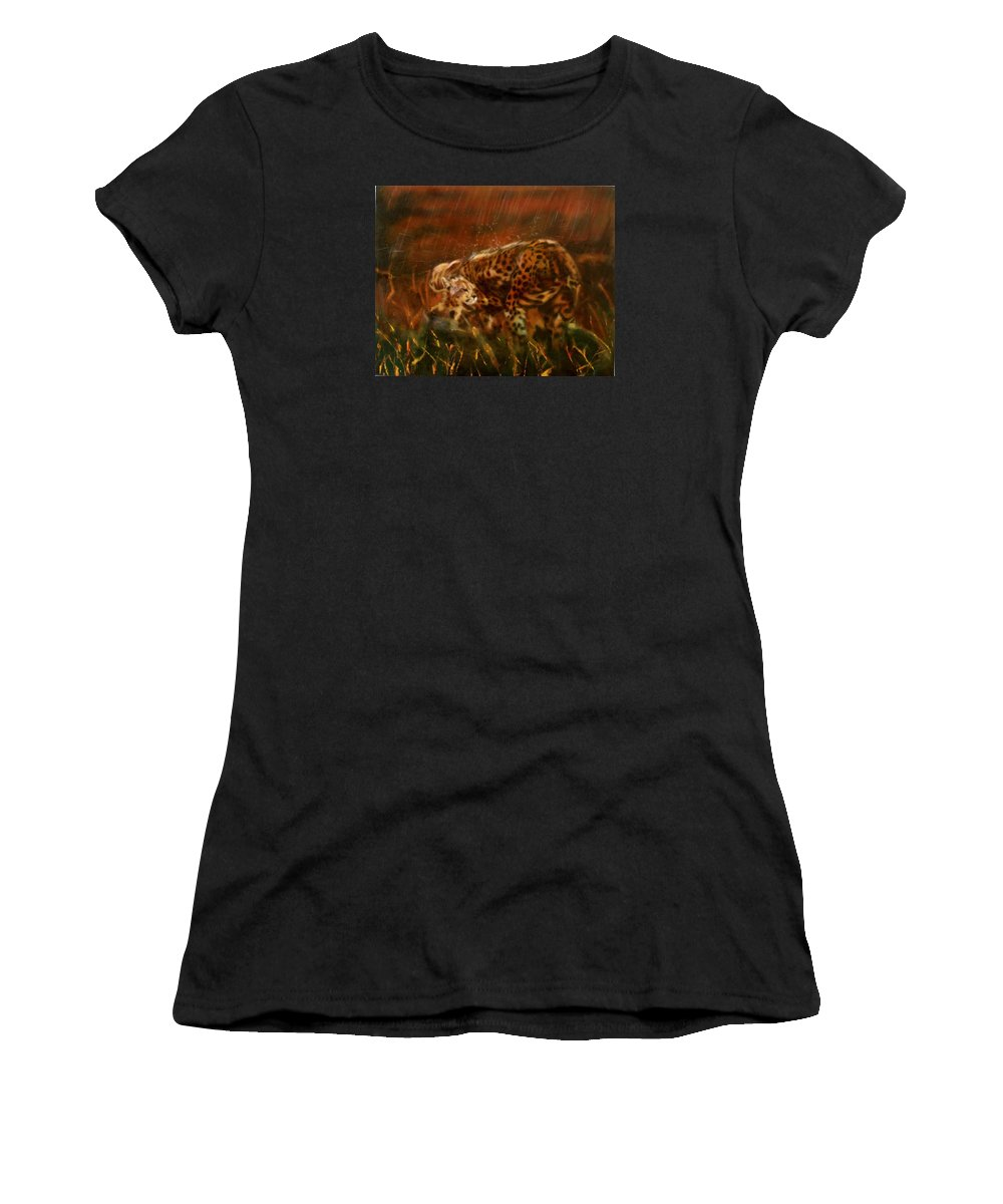 Rain;water;cats;africa;wildlife;animals;mother;shelter;brush;bush Women's T-Shirt featuring the painting Cheetah Family After The Rains by Sean Connolly