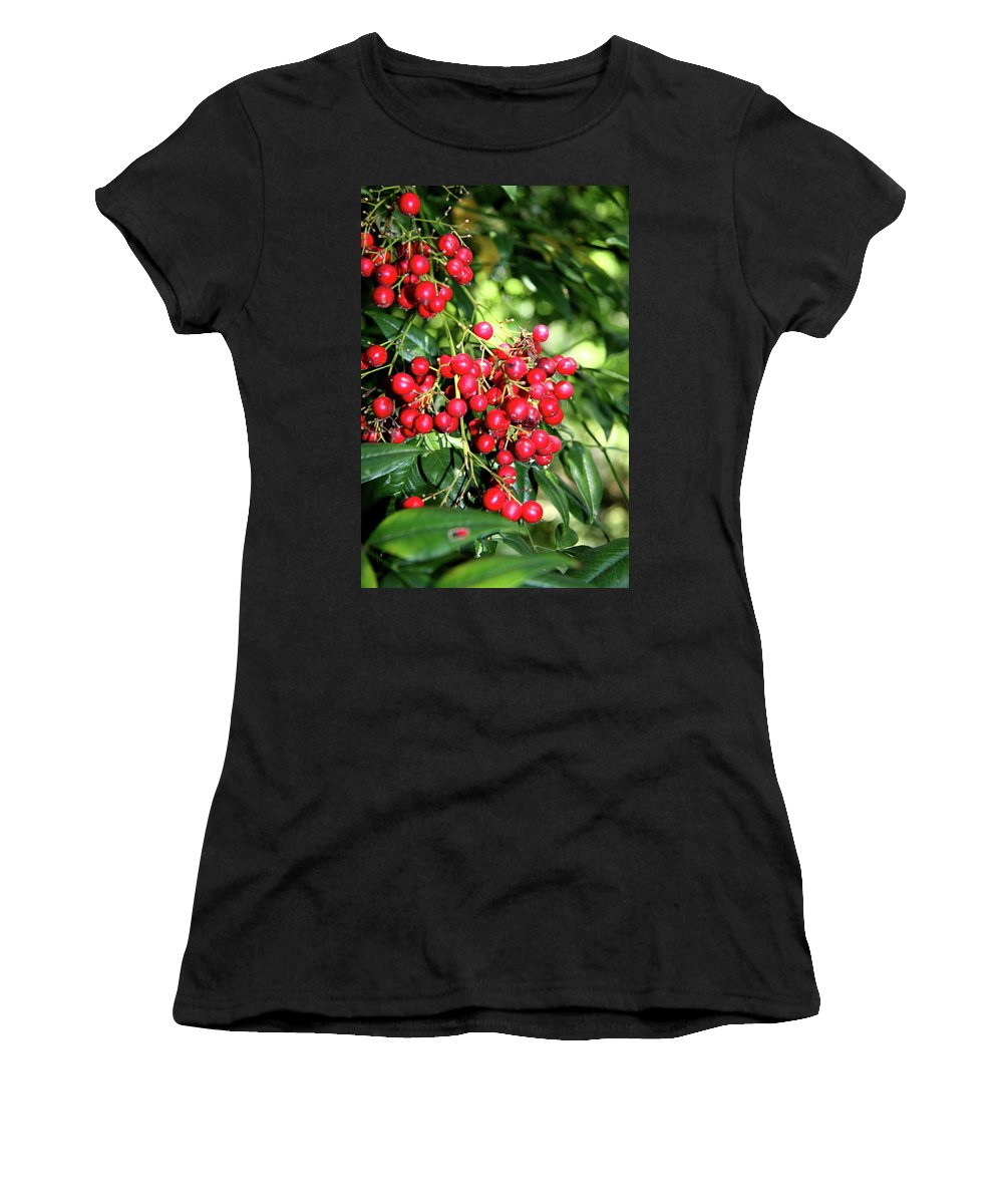Berries Women's T-Shirt (Athletic Fit) featuring the photograph Cherry Laurel by Christiane Schulze Art And Photography