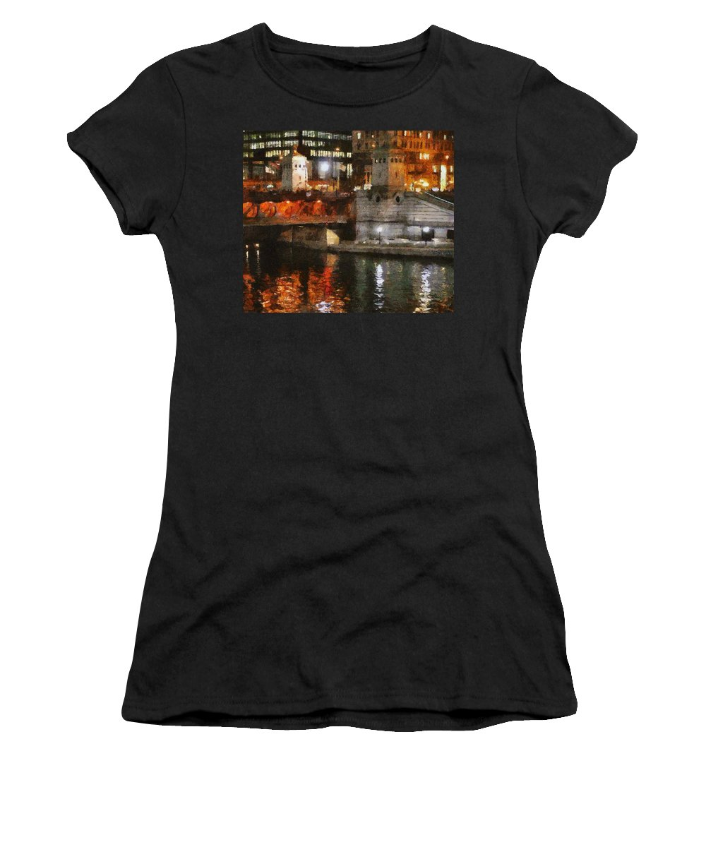 Bridge Women's T-Shirt featuring the painting Chicago River At Michigan Avenue by Jeffrey Kolker