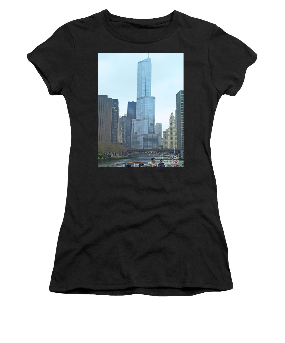 Chicago Women's T-Shirt featuring the photograph Chicago River Sights by Ann Horn