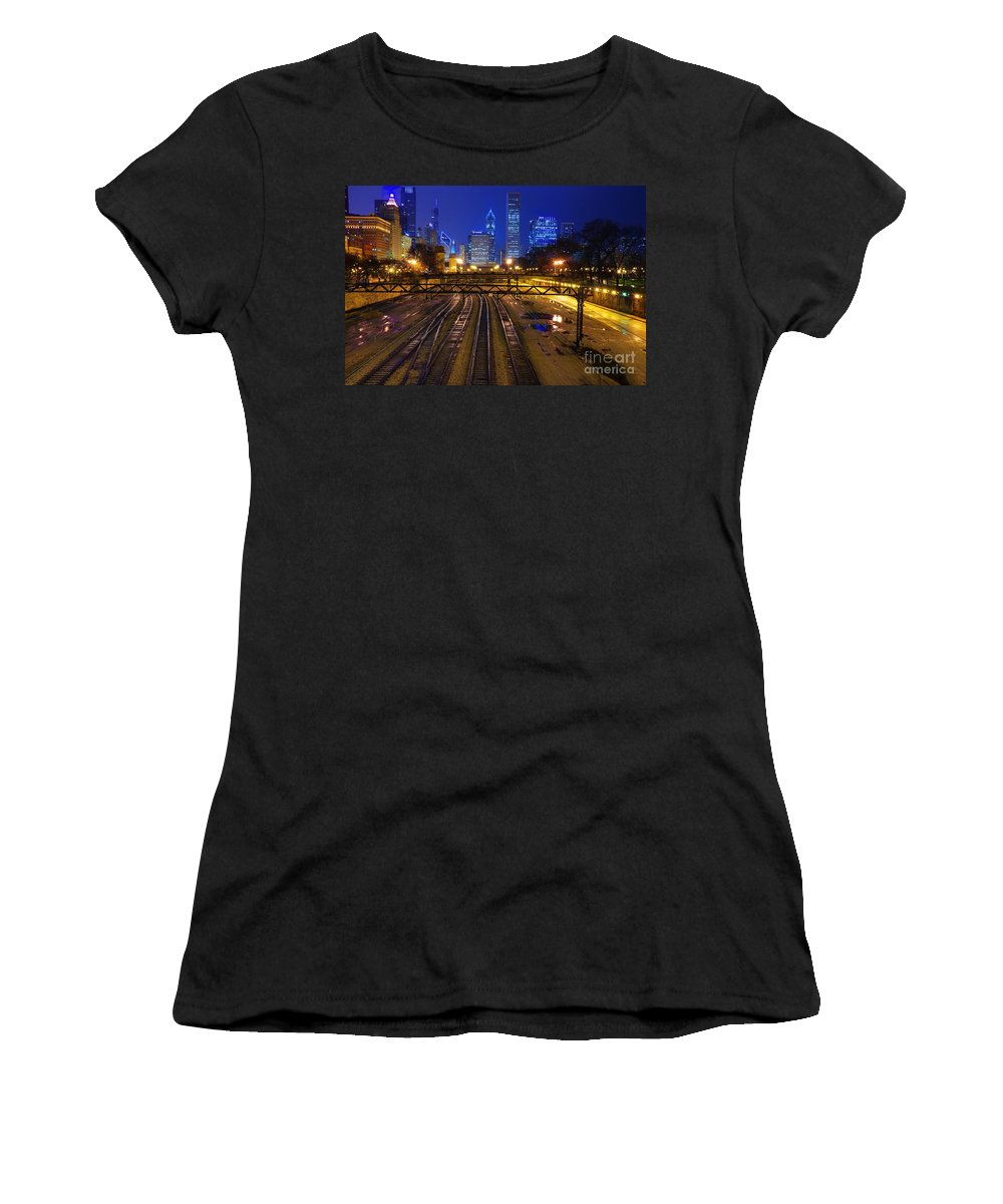 Chicago Women's T-Shirt (Athletic Fit) featuring the photograph Chicago Skyline by Jonas Luis