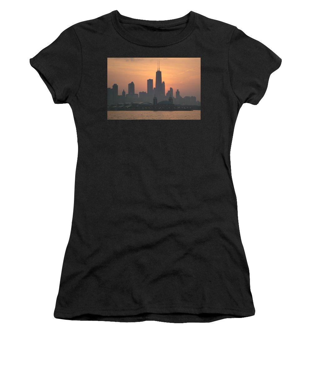 Chicago Women's T-Shirt (Athletic Fit) featuring the photograph Chicago Sunset by K Conway