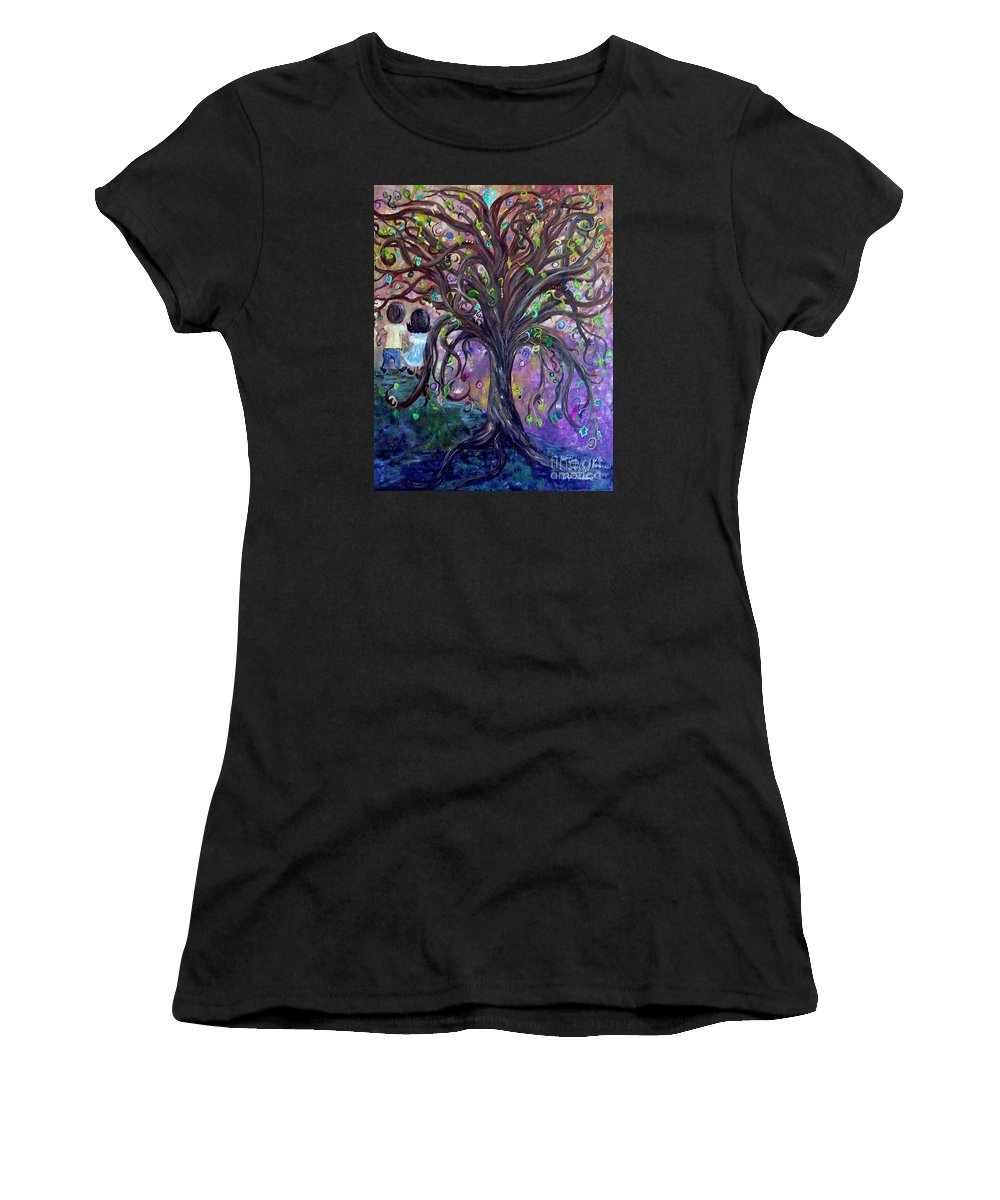 Child Women's T-Shirt (Athletic Fit) featuring the painting Children Under The Fantasy Tree With Jackie Joyner-kersee by Eloise Schneider Mote