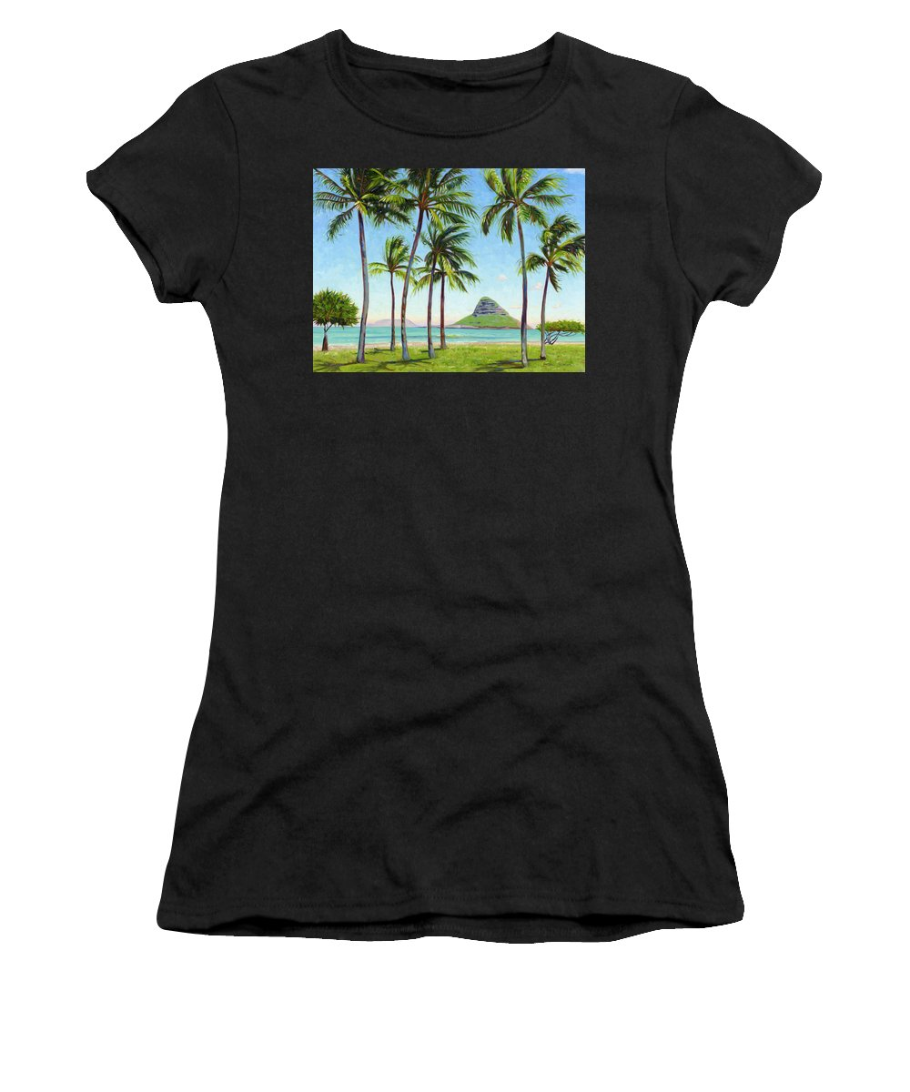 Chinamans Hat Women's T-Shirt (Athletic Fit) featuring the painting Chinamans Hat - Oahu by Steve Simon