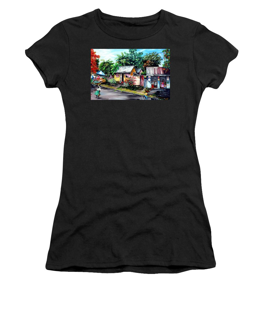 Landscape Painting Caribbean Painting Shop Trinidad Tobago Poinciana Painting Market Caribbean Market Painting Tropical Painting Women's T-Shirt featuring the painting Chins Parlour   by Karin Dawn Kelshall- Best