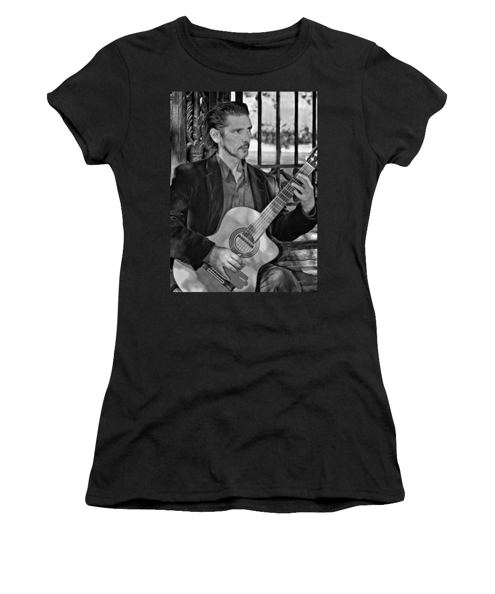 Jackson Square Women's T-Shirt (Athletic Fit) featuring the photograph Chris Craig - New Orleans Musician Bw by Steve Harrington
