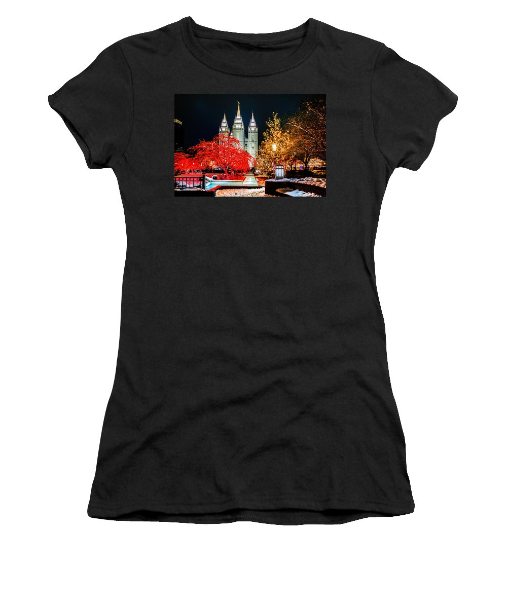 Christmas Women's T-Shirt featuring the photograph Christmas At Temple Square by La Rae Roberts