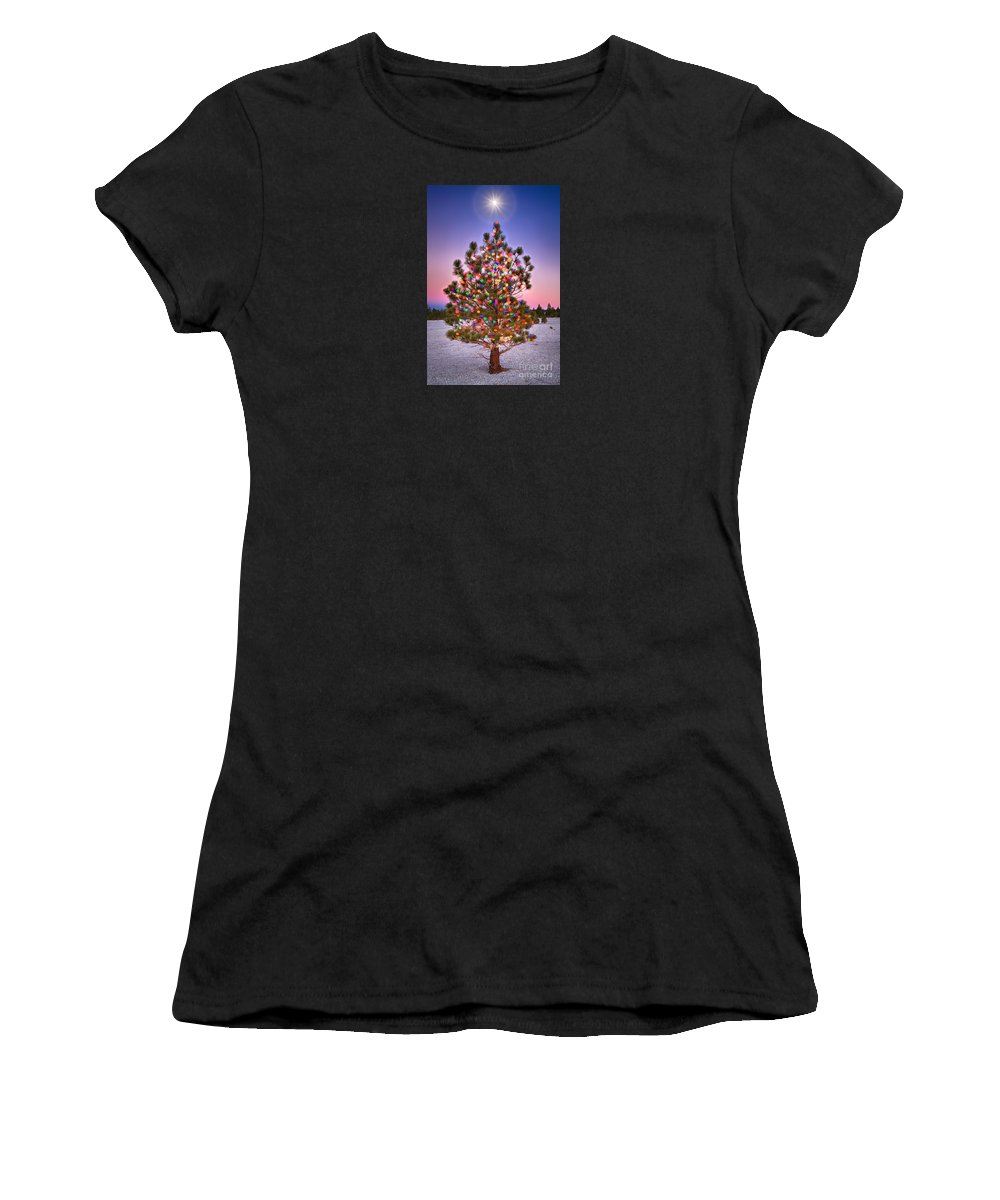 Blue Women's T-Shirt featuring the photograph Christmas Dream by Alice Cahill