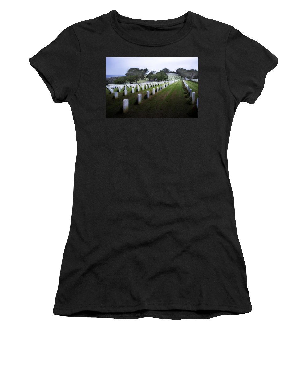 Fort Rosecrans National Cemetery Women's T-Shirt featuring the photograph Christmas Fort Rosecrans National Cemetery by Hugh Smith
