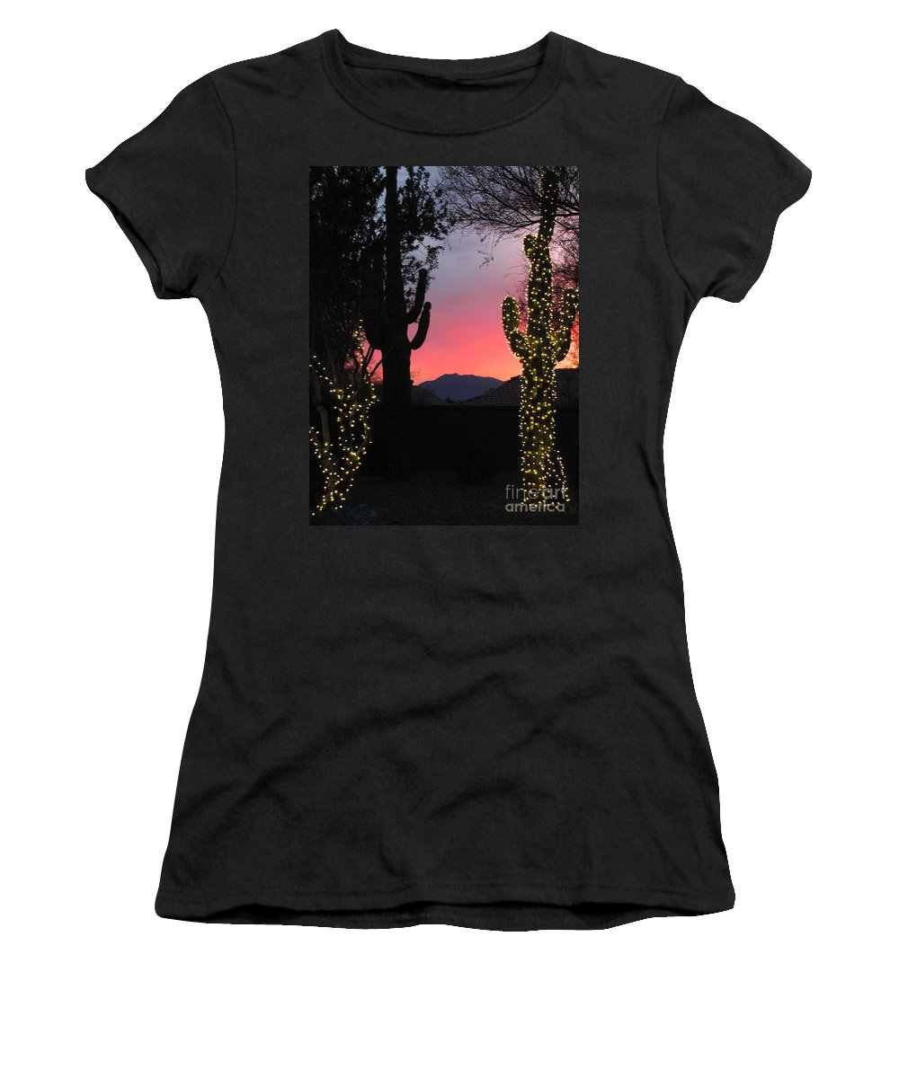 Christmas Lights Women's T-Shirt featuring the photograph Christmas In Arizona by Marilyn Smith