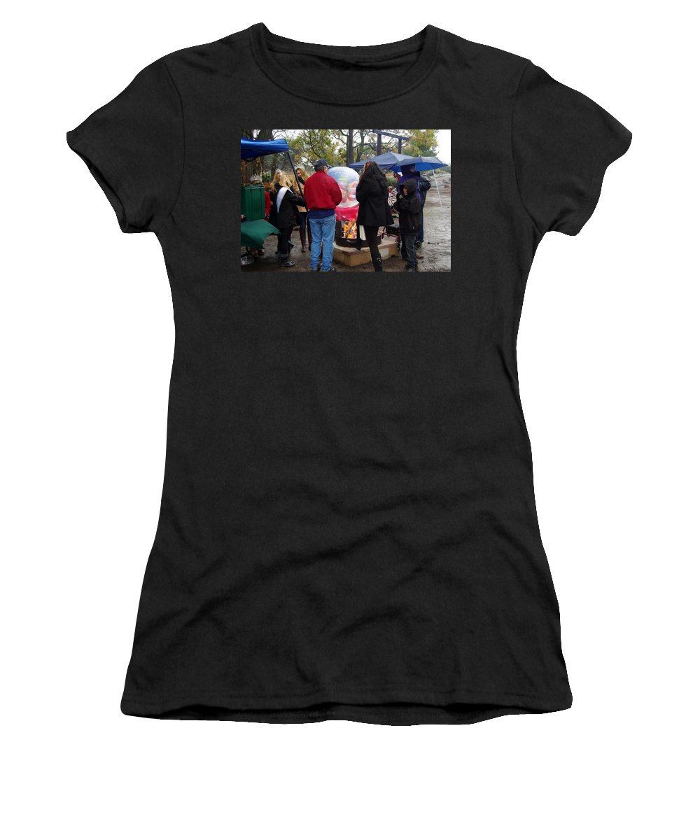 Christmas Women's T-Shirt featuring the photograph Christmas People Cold And Muddy by Phyllis Spoor