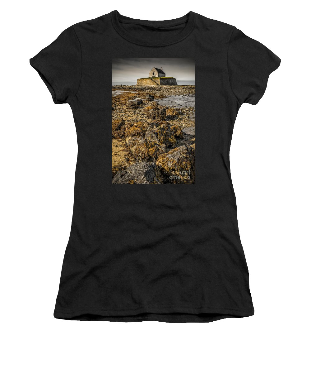 Aberffraw Women's T-Shirt (Athletic Fit) featuring the photograph Church By The Rocks by Adrian Evans